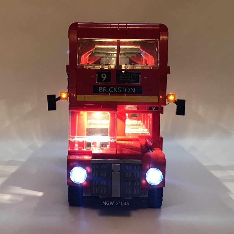 Zestaw oświetlenia Led do Legoing technic 10258 autobus w londynie klocki zestaw kompatybilny 21045 zabawki z klocków Model samochodu londyn autobusy oświetlenie zestaw