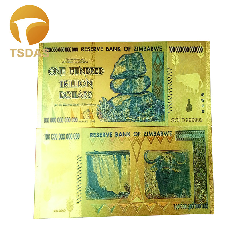Zimbabwe 24k Gold Banknotes Plated 100 Trillion Dollars World Fake Money 10pcs Lot Collections Currency Bills