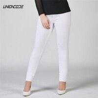 Superstrech Treggings Elastic Waist Skinny Jeggings Ankle Jeans Women Black White 2017 Slim Fit Denim Pants