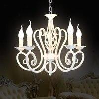 Рождественский Европейская мода Винтаж Люстра Потолочный светильник 6 свеча горит светильники железа черный/белый домашнего освещения E14