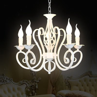Christmas European Fashion Vintage Chandelier Ceiling Lamp 6 Candle Lights Lighting Fixtures Iron Black White Home