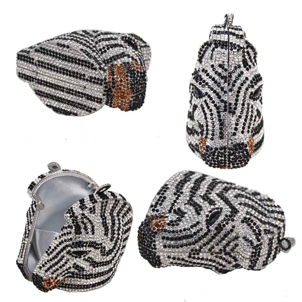동물 얼룩말 럭셔리 크리스탈 저녁 가방 여성 다이아몬드 클러치 파티 핸드백 말 저녁 가방 sc899-에서클러치부터 수화물 & 가방 의  그룹 3