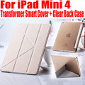 Для IPad Mini4 Трансформатор Смарт Обложка Пластиковая Прозрачная вернуться case Тонкий Кожа PU Case For iPad Mini 4 IM407