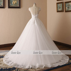 Lover Kiss Vestido De Noiva 2018 V-neck Bridal Ball Gowns Sleeveless Wedding Dresses Lace Appliques Body Real Image robe mariage 3