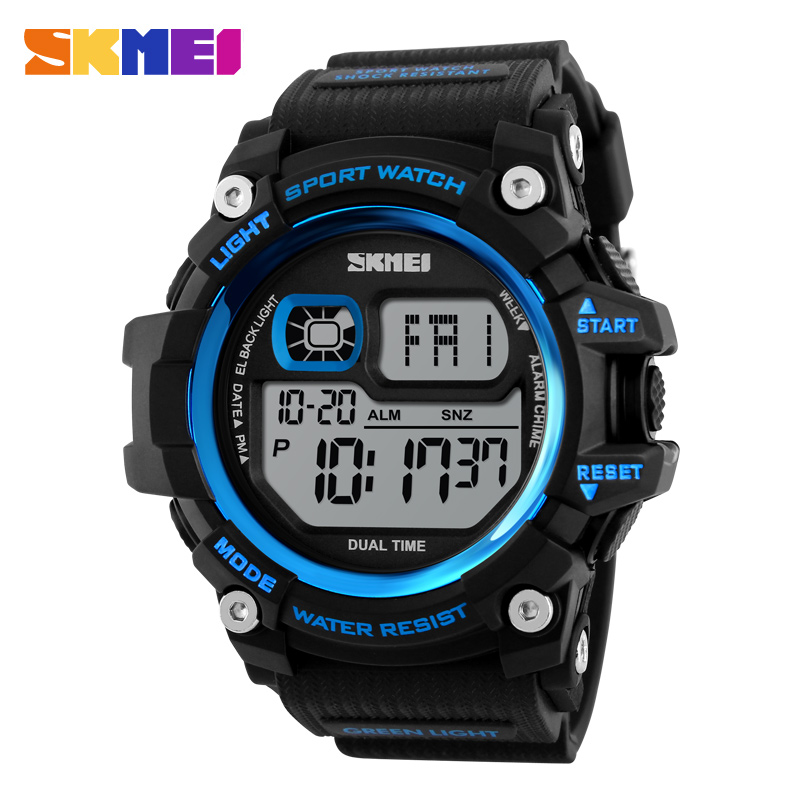 SKMEI Men Digital Watch Big Dial Multifunction Chronograph Outdoor Sports Watches 50M Water Resistant Shock Wristwatches 1229