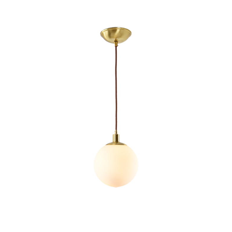 Nordic modern glass ball shaped restaurant, pure copper small chandelier, bedside bedroom, brass lamp single head nordic modern glass ball shaped restaurant pure copper small chandelier bedside bedroom brass lamp single head