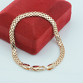 UNNA 5mm 21cm Women Mens 585 Gold Jewelry Plated Link  Weaving Chains Cuff Bracelets (NO RED BOX)