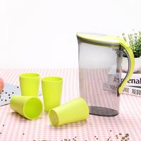 Adeeing 2.1 Litre Water Pitcher with Green Lid Plastic Juice Jug Water Pot Kettle with 4 Cups for Home and Office
