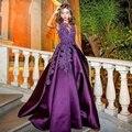 Púrpura elegante de Noche Largo Vestidos de Partido para La Boda Una Línea Por Encargo vestidos de Noche Vestidos Formales robe de soirée longue