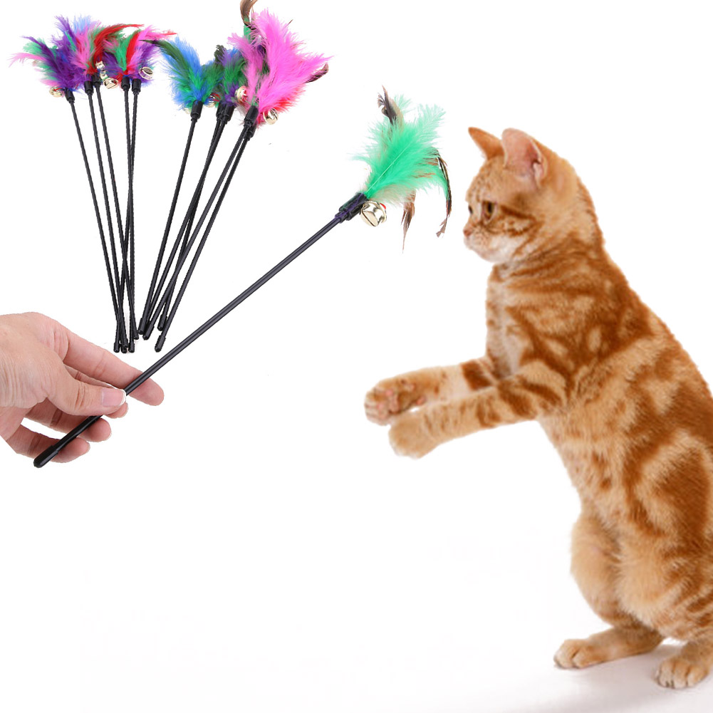 Bell 5Pcs Kitten Play Interactive Fun Toy Cat Teaser Wand Pet Colorful Feather