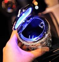 Luxury LED Light Portable Crystal Ashtray Car Auto Travel Cigarette Cylinder Smokeless Car Ashtray Holder Cup