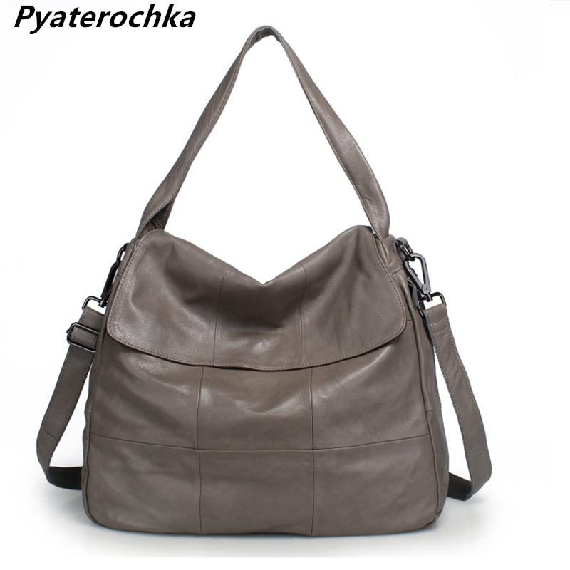 Pyaterochka Genuine Leather Shoulder Bag Women Big Large Capacity Crossbody Handbags Fashion 2018 Casual Plaid Messenger
