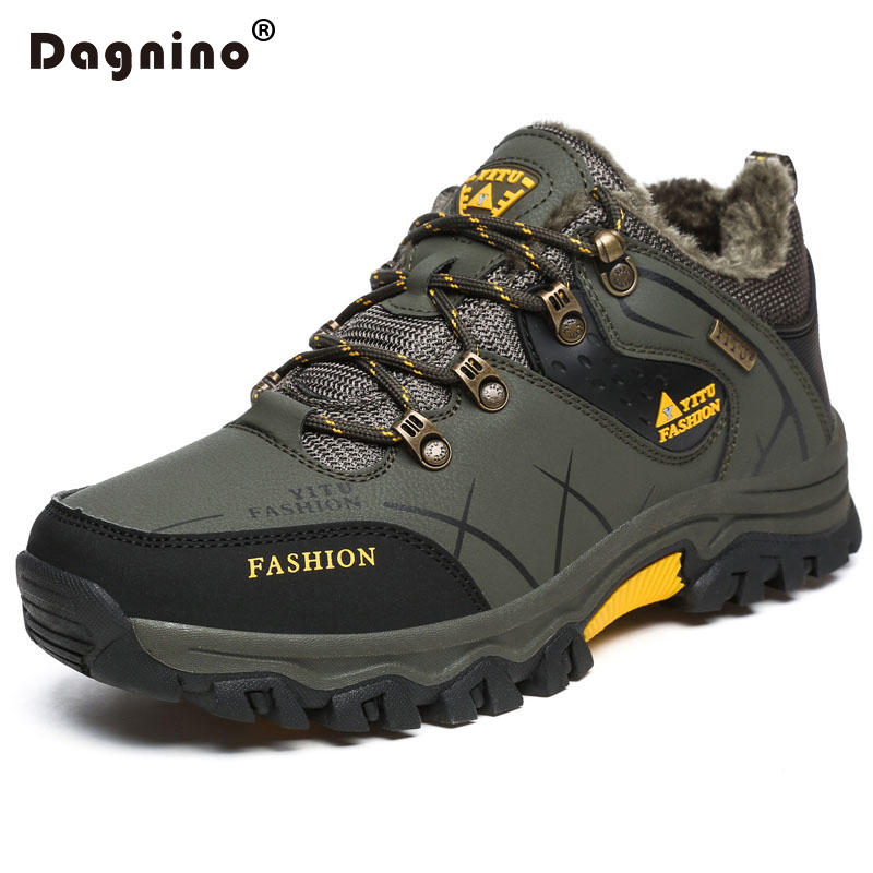 DAGNINO Winter Warm Fur Snow Men Boots Autumn Non-Slip Rubber Sole Men Ankle Boots Waterproof Men Shoes Footwear Plus Size 39-47 france tigergrip waterproof work safety shoes woman and man soft sole rubber kitchen sea food shop non slip chef shoes cover