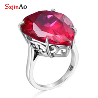 SzjinAo Genuine Solid 925 sterling silver Rings For Women Ruby July Birthstone Ring Fashion Luxury Fine jewelry Wholesale