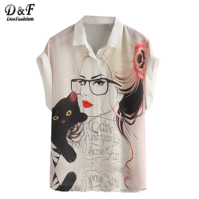 Dotfashion White Portrait Print Roll Sleeve Chiffon Shirt Women Fashion Tops Lapel Buttons Short Sleeve Blouse
