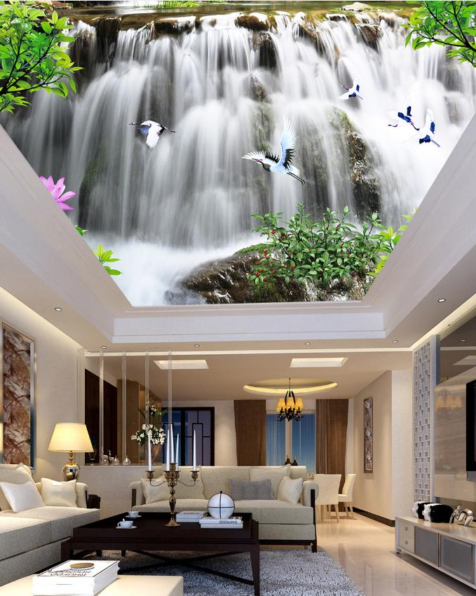 Landscape Ceiling  Wallpaper Waterfall Beautiful Photo Wallpaper For Living Room Bedroom Home Decor Ceiling Mural book knowledge power channel creative 3d large mural wallpaper 3d bedroom living room tv backdrop painting wallpaper