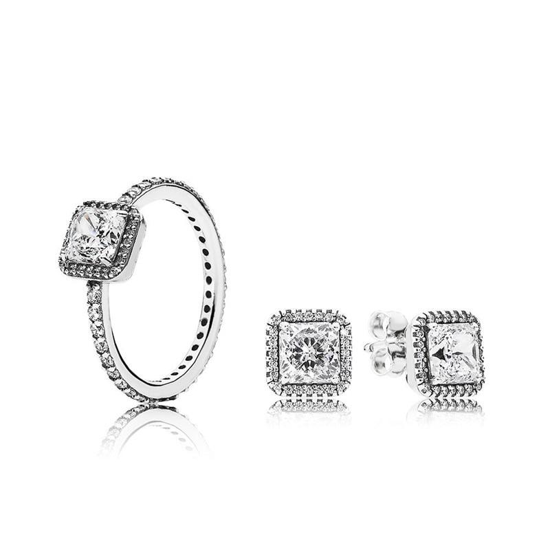 Timeless Elegance Silver Ring & Stud Earrings Fashion Women Sterling Silver Jewelry Gift Sets Clear CZ Crystal Wedding JewelryTimeless Elegance Silver Ring & Stud Earrings Fashion Women Sterling Silver Jewelry Gift Sets Clear CZ Crystal Wedding Jewelry