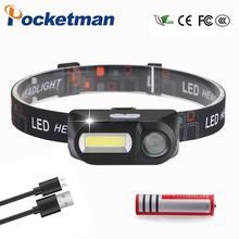 3800ml COB XPE LED Mini Headlight 7-Mode USB Charging Headlamp Camping Flashlight Hunting Frontal by 18650 Battery free shipping