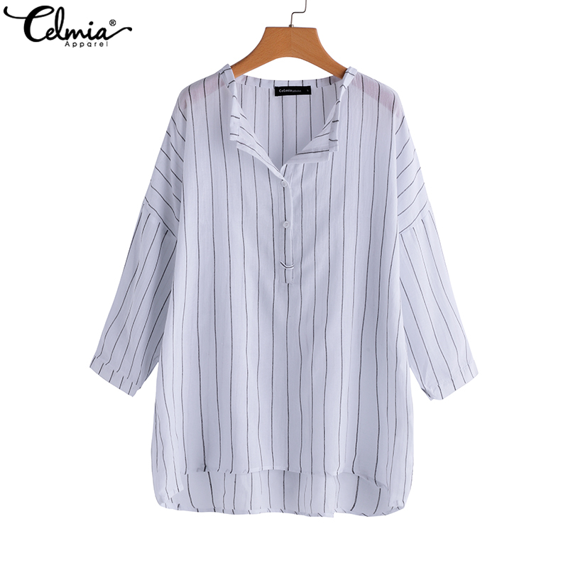 Celmia Plus Size Striped Shirts Women Retro Cotton Linen Blouses 2018 Autumn Tops Button Down Sexy V Neck Long Sleeve Blusas
