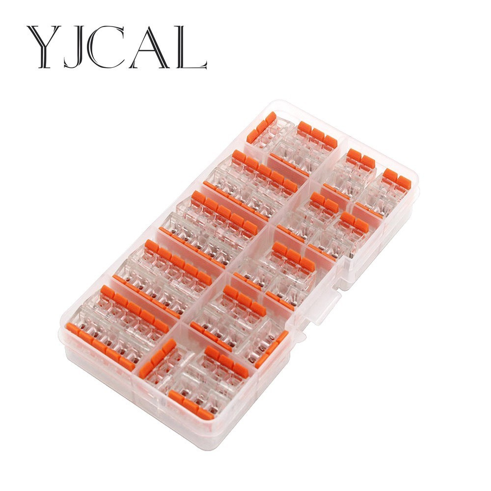 WAGO 221- 412 413 415 28PCS/BOX Wire Butt Joint Connector Connector Clip Fast Insulation Terminal Block AWG 28-12 50pcs wago electric cable connector 3 way reusable original wago 221 413 transparent wire terminals