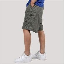 Мужские летние шорты Карго размера плюс 5Xl 6Xl, повседневные Модные мужские армейские зеленые шорты, мужские свободные хлопковые шорты с карманами, мужские шорты A3165