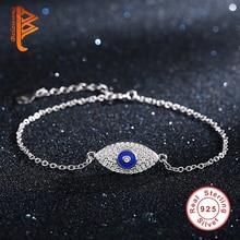 925 Sterling Silver Esmalte Azul CZ Brazalete Mal de Ojo Encantos de Cristal Brazalete de la Pulsera para Las Mujeres de Compromiso Joyería de La Boda