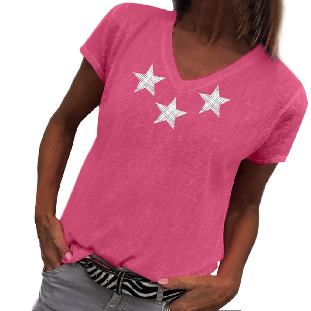 Women's T Shirt Fashion Print Star T-shirts Summer Casual Clothes Short Sleeve Tops Llaies tee camisetas verano mujer 2020