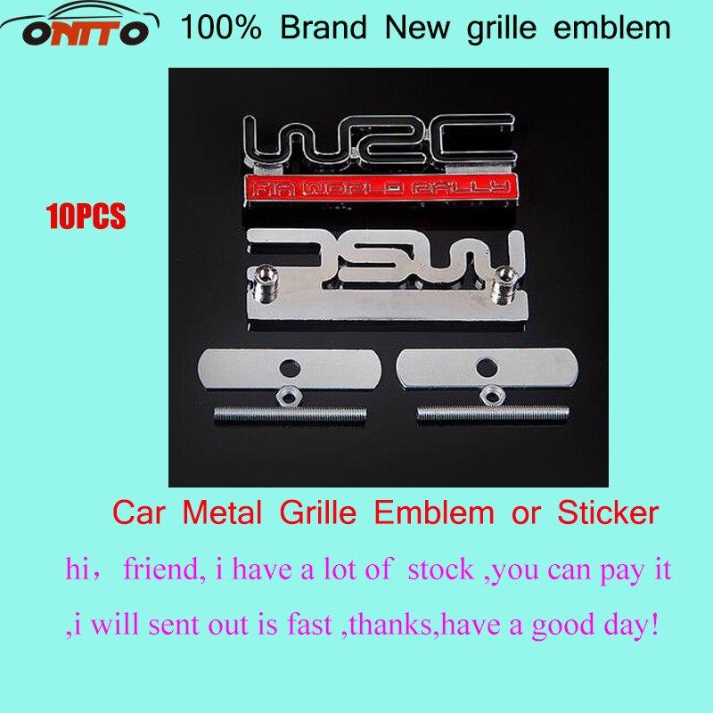 Lien spécial 10 pièces WRC 3D métal avant capot Grille Grille emblème voiture badge autocollant voiture emblème