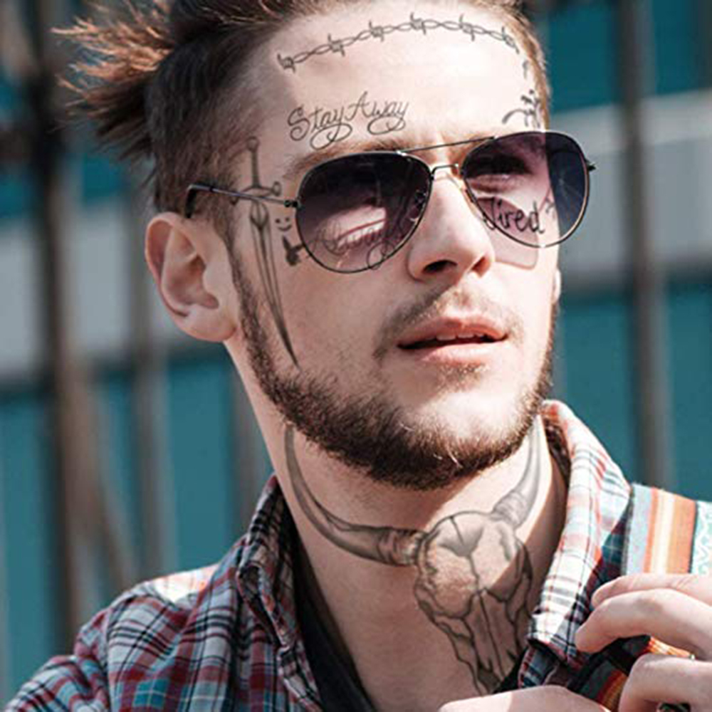 Us 075 15 Off2019 New Post Malone Face Tattoo Sticker Halloween Face Sticker Waterproof Tattoo Sticker Tool In Temporary Tattoos From Beauty