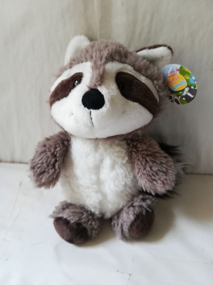 100% new about 25cm gray raccoon plush toy soft doll kid's toy Christmas gift b1008