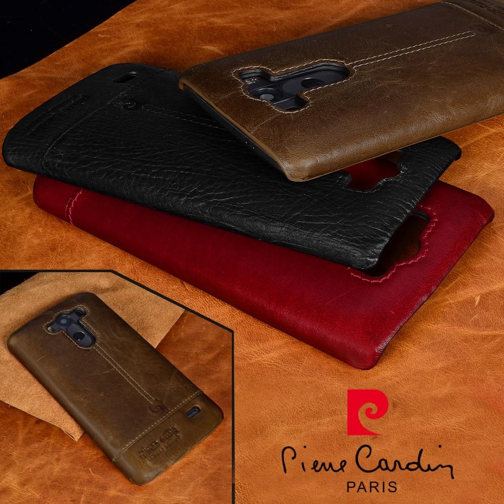 Pierre Cardin äkta läderfodral För LG G5 G7 ThinQ V20 lyx Classic Anti fall telefon bakomslag Gratis frakt