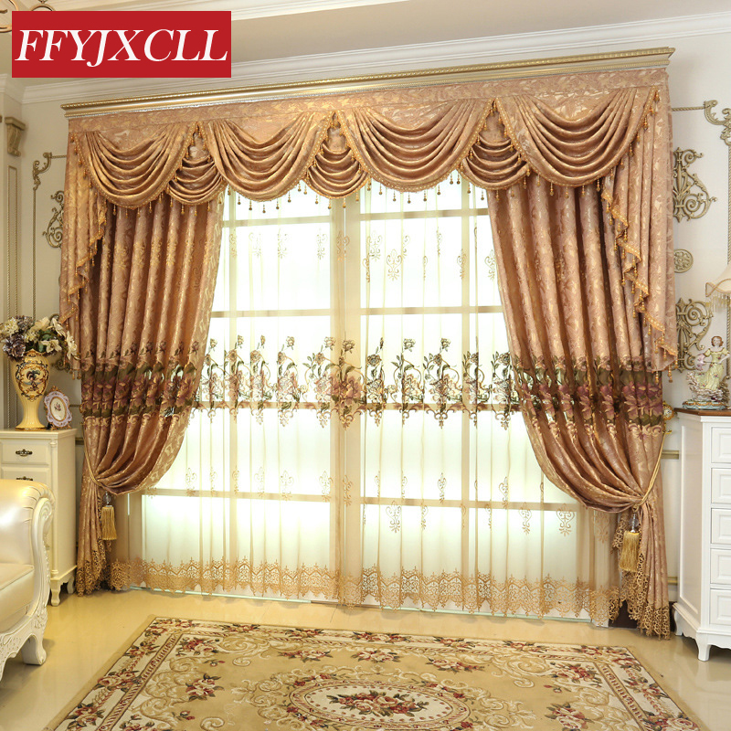 Fine Embroidered Luxury Europe Floral Valance Curtains For