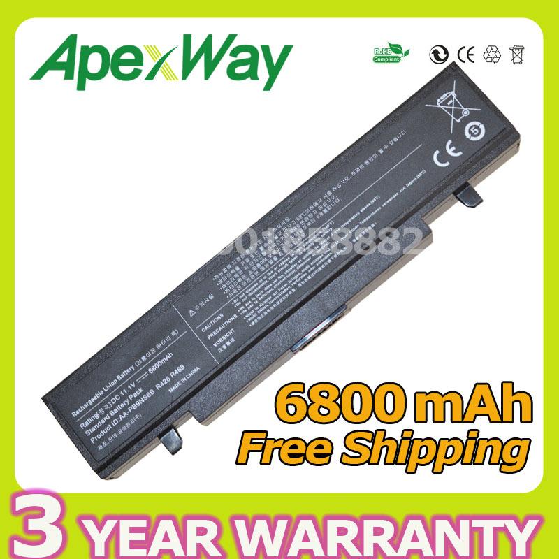 ФОТО Apexway 6800mAh Battery For Samsung R423 R428 R480 350V5C 365E5C NP350V5C NP350E5C E257 SA20 SA21 AA-PB9NC6B AA-PL9NC2B