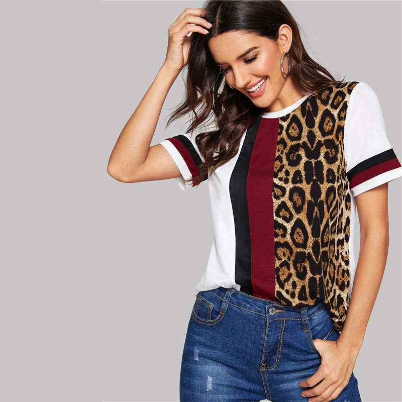 Block Cut-and-Sew Leopard Panel Top Short Sleeve O-Neck Casual T Shirt 50
