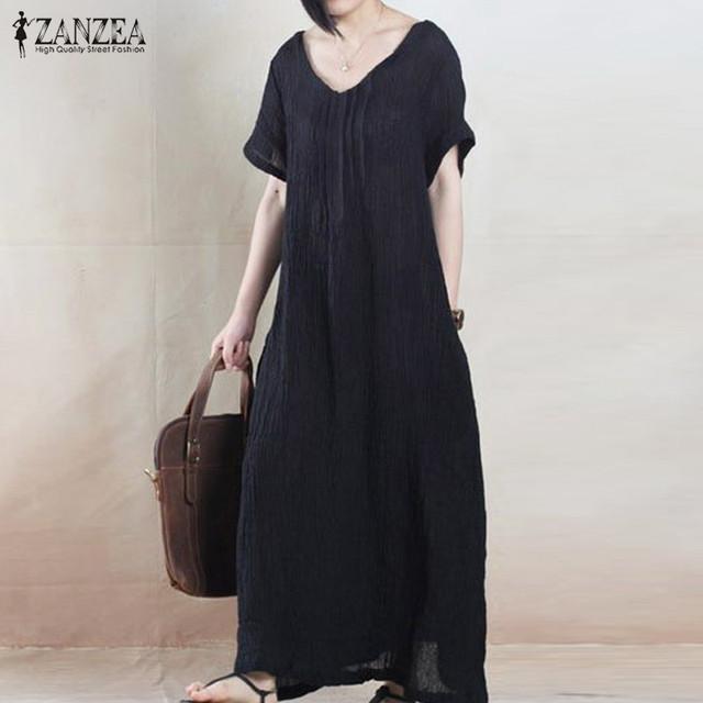 Summer Dress 2017 ZANZEA Women Vintage Casual Loose Solid Long Maxi Dresses Short Sleeve O Neck Cotton Vestidos Plus Size
