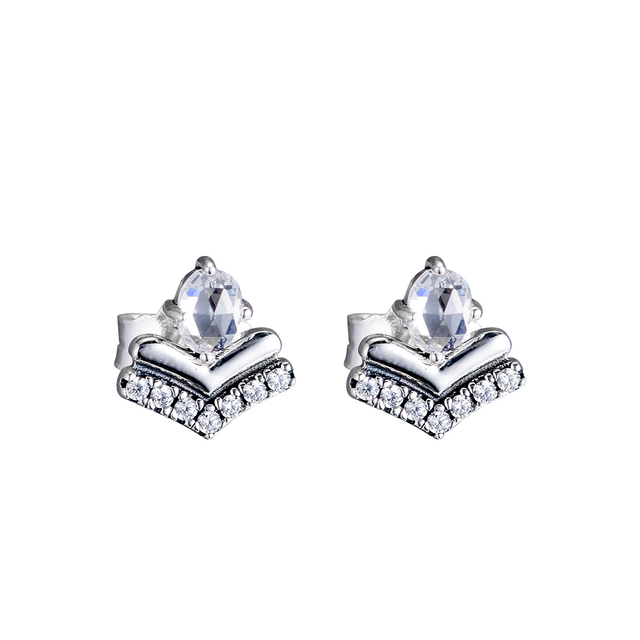 FANDOLA Silver 925 Jewelry Classic Wishes Stud Earrings with Clear CZ Fashion Stud Earrings for Women Wholesale