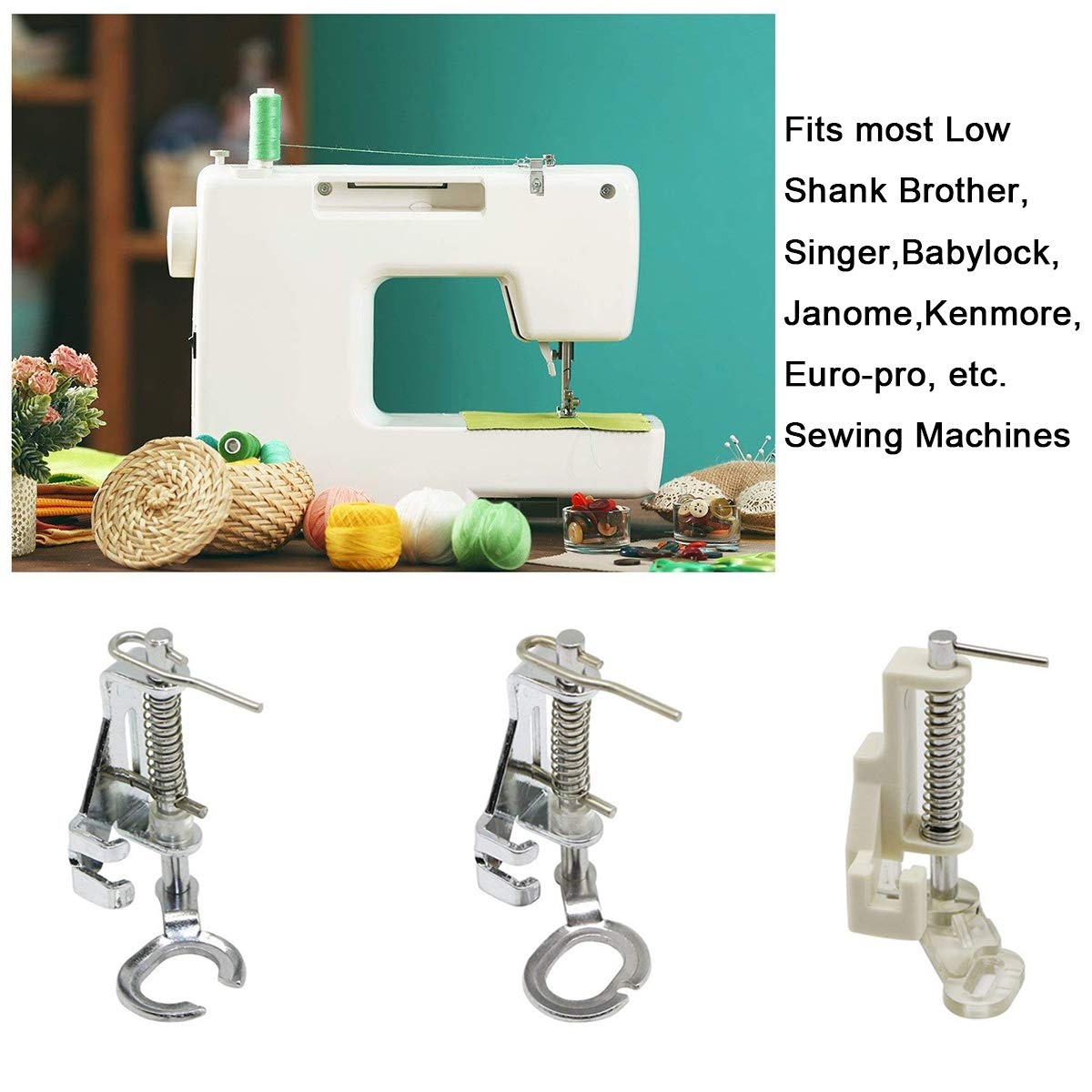 Kenmore Fits Most Low Shank Singer Elna Plus More Juki Babylock Simplicity New Home Free-Motion Darning Quilting Open Toe Sewing Machine Presser Foot Brother Janome