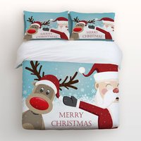 4 Piece Bed Sheets Set Merry Christmas Lovely Cartoon Reindeer And Smiling Santa Claus Print 1