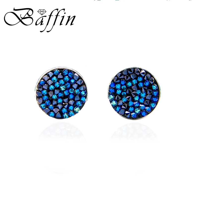 BAFFIN Classic Round Stud Earrings Crystals From Swarovski Pave Silver Color Piercing For Women Chic Gift Blue Colorful Jewelry pair of chic faux crystals rhinestone stud earrings for women