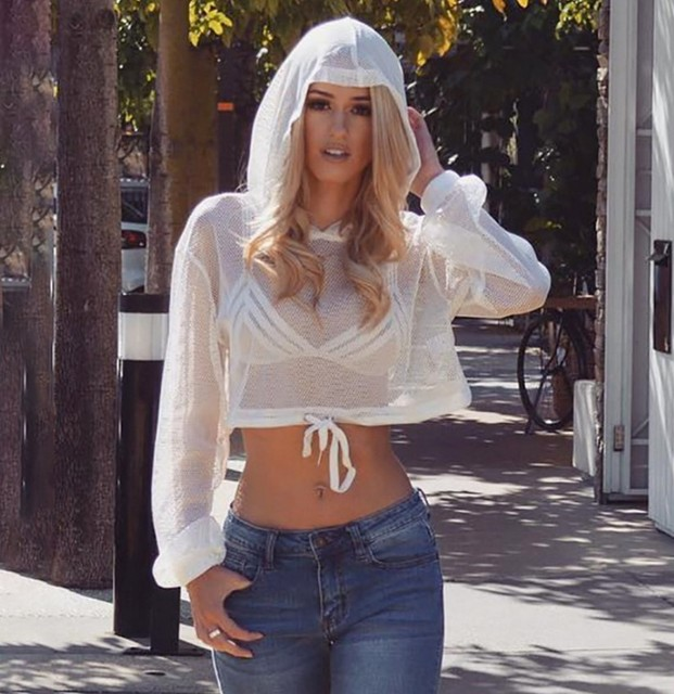 2667e41c3b824 NEW Women Lace Crochet Bathing Suit Bikini Swimwear Long Sleeve Cover Up  Beach Hooded Thin Chiffon Short Tops