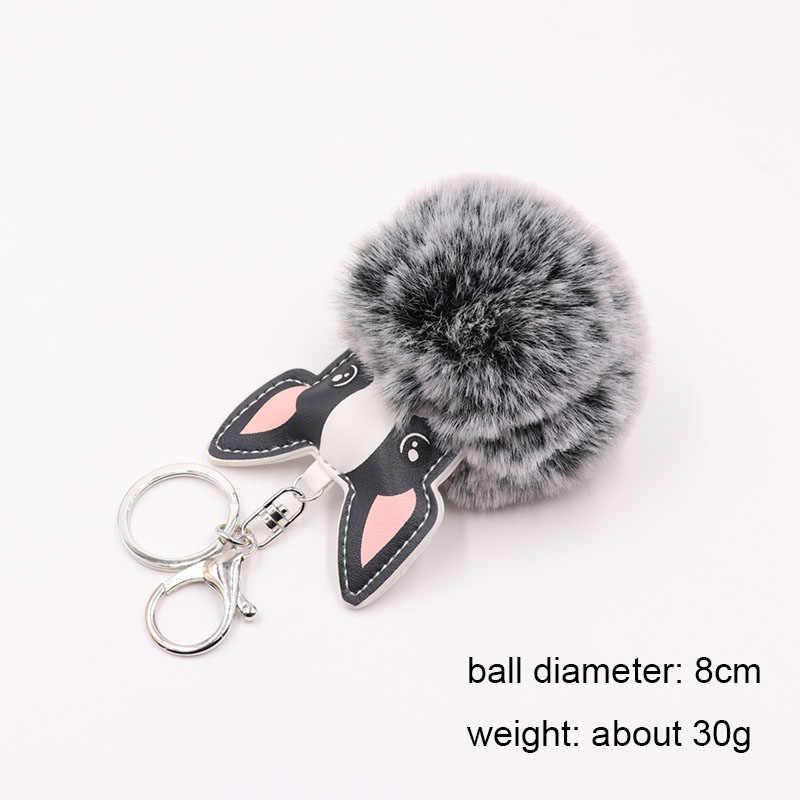 RE Bonito fluffy dog bolsa pingente de chave da cadeia de saco das mulheres de mini accessaries do falso pele de coelho pompom de pelúcia carro charme saco chaveiros M31