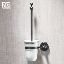 FLG Toilet Brush Holders Wall Mounted Solid Brass Brushes Holder Set Ceramic Luxury Bathroom Accessories Clean