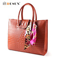 2016 New European Style Women Bags Wild Fashion  Women's Crocodile Pattern Shoulder Portable Diagonal Package Leather Handbag