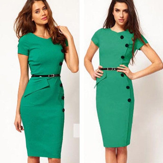Summer Formal Women Office Business Dresses Casual Short Sleeve