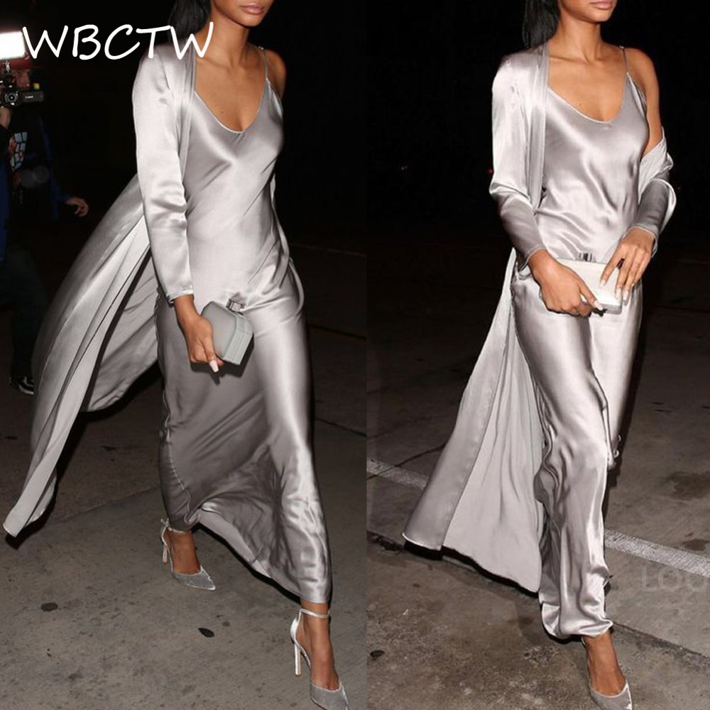 WBCTW Sexy Maxi Satin Robe 6XL 7XL Plus Taille Profonde V-cou Solide 3/4 Manches Élégant Femmes Robe Summer Long Casual ruban Robe