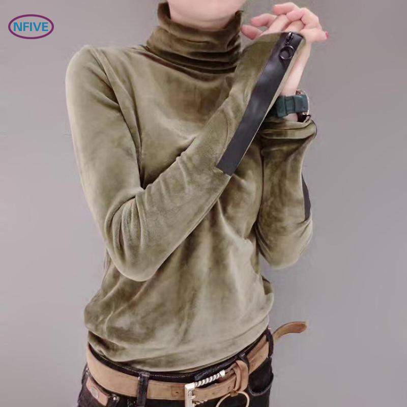 NFIVE Brand 2018 Woman Solid Cotton Sweaters New Fashion Spring Korean Long Sleeve Pullover Half Turtleneck Short Velvet Sweater
