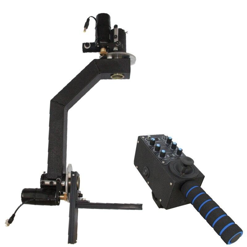 Fotografía cámara de vídeo Jib grúa 2 ejes 1080 holandés rollo remoto Pan Tilt motorizado cabeza con controlador accesorios de estudio fotográfico