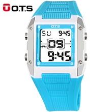 OTS Blue Square Children Digital Watch for Girl Boy Fashion Student Running Waterproof Kids Watches Rubber Strap Sport Clock