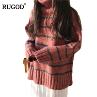 RUGOD 2018 Autumn Winter Women Sweaters And Pullovers New Casual Striped Turtleneck Pullover Women Warm Cashmere