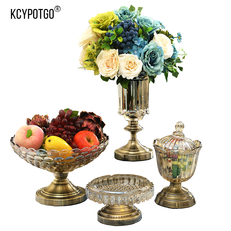 European style Four piece suit (Vase, fruit plate, ashtray, candy jar) High grade crystal glass Home decoration accessories